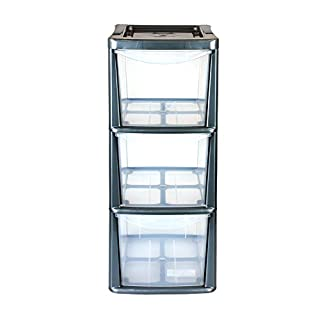 Simpa 3 Drawer Storage Unit - SILVER Frame - Small Plastic Storage Tower Unit - Clear Drawers - 47.5cm x 26cm x 19cm