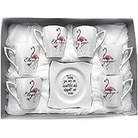 INTIGNIS Porsche - Juego de 6 tazas de café y platillos de porcelana, diseño de