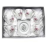 INTIGNIS Porsche Luxus-Design, italienischer Espresso, Tee, Kaffeetassen und Untertassen, Geschenkset, Porzellan, handgefertigt, Design inspiriert von Versace. Tea Cups silber