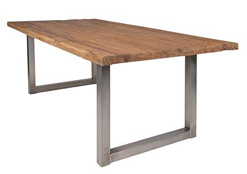 Ess-Tisch aus recyceltem Teak-Holz mit Tisch-Gestellt aus Eisen in antik silber 200x100cm recht-eckig | Laroc | Rustikaler Küchen-Tisch aus Teak Massiv-Holz 200cm x 100cm