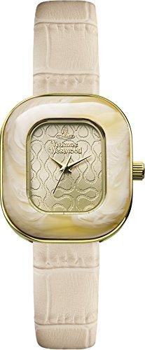 Vivienne Westwood Tourte Women's Quartz Watch with Beige Dial Analogue Display and Cream Leather Strap VV112GDCM
