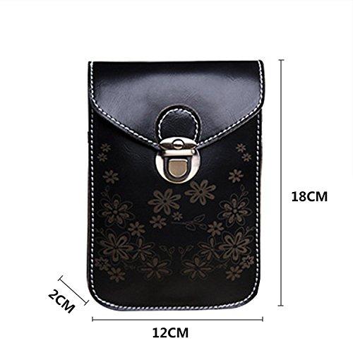 Téléphone Sac,Vandot 2in1 PU Cuir Mini Pochette Universal Case (180mm*120mm*20mm) pour iPhone 7(4.7)/7 Plus(5.5)/6S(4.7)/6S Plus(5.5)/SE/5/5S,Galaxy S3/S4/S5/S6/S7edge/Note 3/4/5 Housse Hippie Style P Rétro - Noir