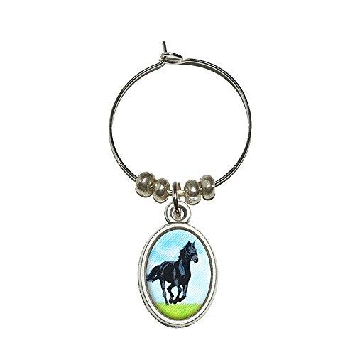 Pferd auf offene Prairie Wein Glas Oval Charm Drink Marker (Pferd Wein Glas Charms)