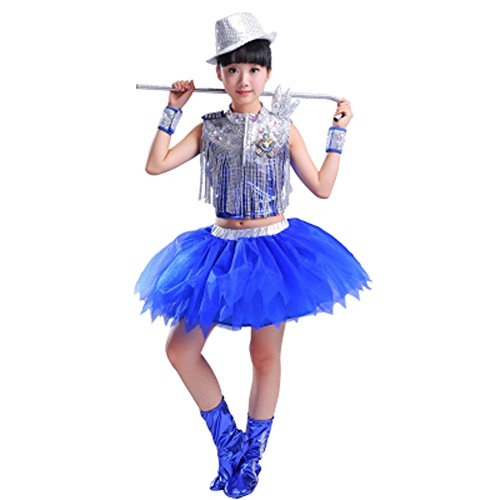 Byjia Kinder Tanzen Kostüm Hip Hop Jazz Mädchen Boy Quasten Rock Shorts Street Dance Outfit,Girl,100Cm (Girl Street Dance Kostüm)