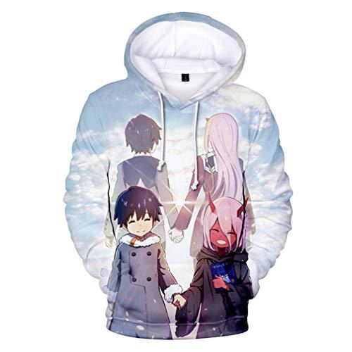 Cosstars Darling in The Franxx Anime Hoodie Kapuzenpullover Unisex Cosplay 3D Druck Sweatshirts 5 M