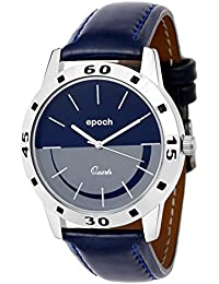 Epoch Analog Stylish Fashionable Blue Dial Genuine Leather Strap Watches For Men And Boys