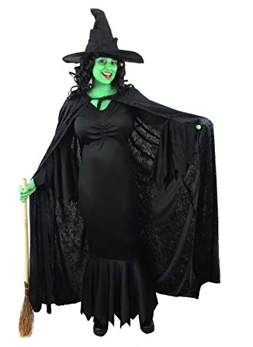 ILOVEFANCYDRESS GRÜN Wicked Witch Kleid MIT Velour Cape + SCHWARZ Witch HAT + GRÜN Facepaint IN GRÖßE EU 42-44 (M) - (Witches Broom NOT Included)