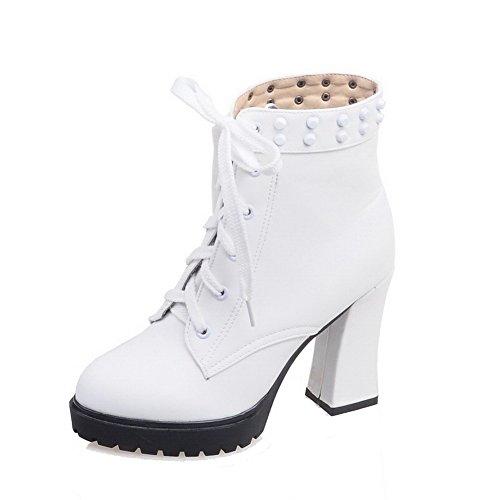 VogueZone009 Damen Hoher Absatz Weiches Material Gemischte Farbe Schnüren Stiefel, Weiß, 36