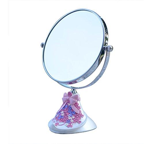 JILAN HOME Mirror- Schönheit Vanity Spiegel Make-Up Desktop-Dressing Spiegel Doppelseitige verstellbare runde Harz 6 Zoll High-Definition tragbare Spiegel zu Fuß Stand mirror ( Farbe : Pearl white )