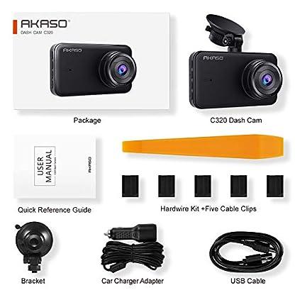 AKASO-Dashcam-1080P-FHD-2-Gen-DVR-Autokamera-3-Zoll-IPS-Bildshirm-Dash-Cam-170-Weitwinkel-G-Sensor-Super-Nachtsicht-WDR-Parkmonitor-Loop-Aufnahme-Ermdungserinnerung-C320