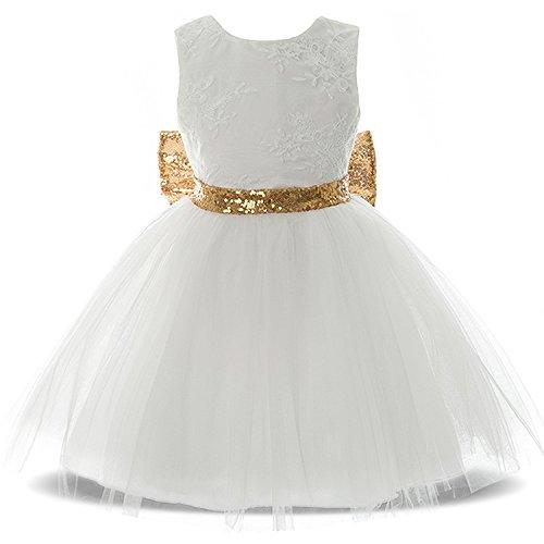 TTYAOVO Kleinkind Baby Blumenmädchen Pailletten rückenfreies Kleid Größe (100) 4-5 Jahre Weiß