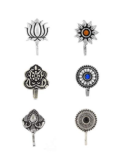 Anuradha Art Silver Oxidised Nose Pin for Women