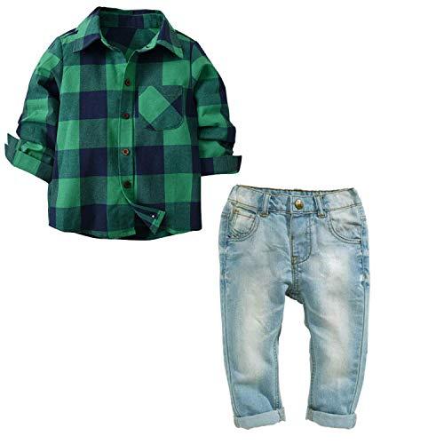 SANMIO Baby Jungen Bekleidungs Sets Strampler Baumwollhemd + modische Jeans Smoking Anzug Gentleman Frühling und Herbst Kleidung des