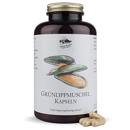 Grünlippmuschel Kapseln • 1500 mg Grünlippmuschelpulver pro Portion • hochdosiert • 300 Kapseln (5 - 3 Monatsvorrat) • OHNE Magnesiumstearat • Deutsche Premium Qualität • Kräuterhandel Sankt Anton