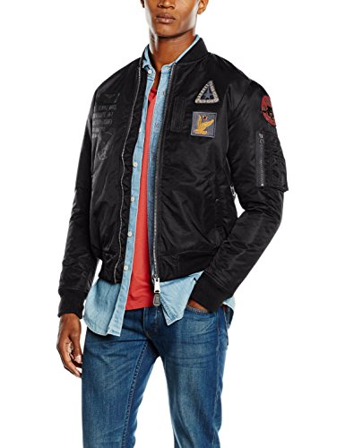 Schott NYC Airforce2 Bomber Jacket W/Badges, Blouson Homme Noir (Noir 90)