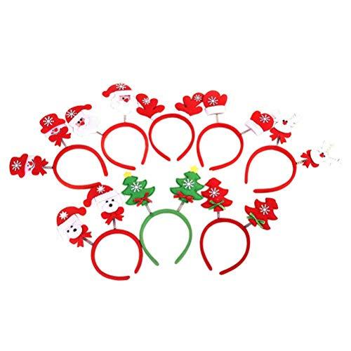 BESTOYARD 10 Stück Weihnachten Haarreif Rentier Stirnband Hirsch Geweih Haarband Haarschmuck Kinder Kostüm Zubehör (Weihnachtsbaum, Weihnachtsmann, Schneemann, Elch, Zufällig)