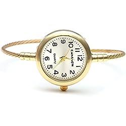 JSDDE Elegant Fashion Women's Grils' Steel Wire Bracelet Bangle Wrist Quartz Watch, Gold Tone White Face