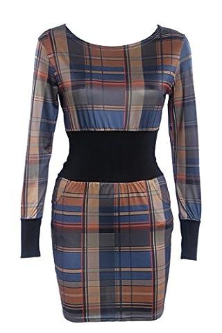 SunIfSnow - Robe spécial grossesse - Moulante - Uni - Manches Longues - Femme - marron - Medium