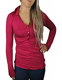 Clearance Ladies Raspberry Red Long Sleeve Blouse with Diamond Buttons