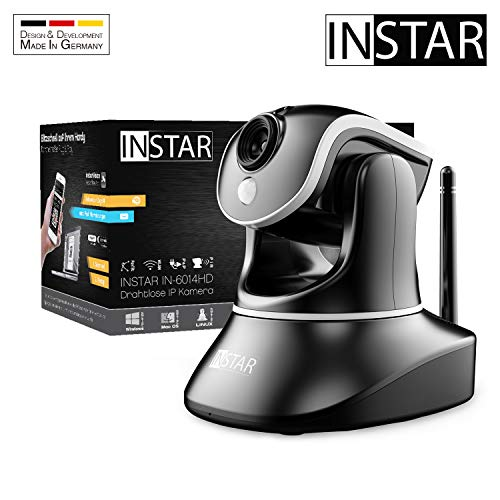 INSTAR IN-6014HD schwarz - WLAN Überwachungskamera - IP Kamera - steuerbar - Innenkamera - Mikrofon - Lautsprecher - Pan Tilt - PIR -Bewegungserkennung - Nachtsicht - Weitwinkel - LAN - RTSP - ONVIF