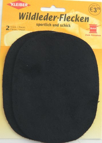 Wildlederflicken 2er Pack oval dunkelblau