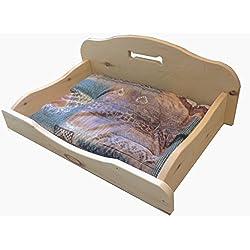 Caseta para perro en piedra natural madera de pino (410x 650mm, pequeñas). Sin barnices, sin partes metálicas. Totalmente de enclavamiento. [Raised fondo, cojín Espelta Natural incluido] producto hecho a mano en Trentino Alto Adige