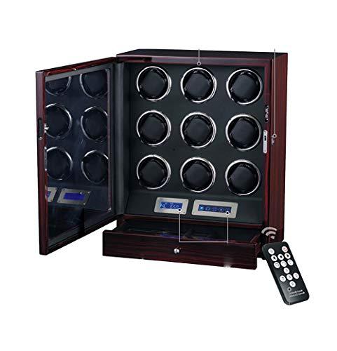 Hölzerner Automatischer Uhrenbeweger-Kasten, Noten-LCD-Digitalanzeige Mit LED-Beleuchtung, 9 Uhr-Speicher-Anzeigen-Kasten-Stiller Motor