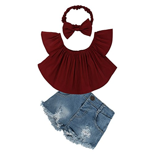 mioim Cute Baby Girl Rot Schulterfrei Top + Loch Shorts Jeans + Stirnband Outfits Set (Jeans Set Outfit Top)