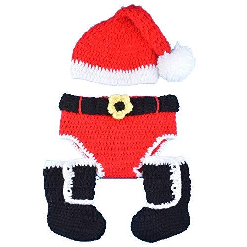 Claus Kostüm Girl Santa - Yishelle Neugeborene Baby Fotografie Kostüme Outfits, Neugeborenes Kostüm Fotografie Prop Santa Claus gestrickt Outfit 3-teilig Anzug Geeignet für Baby Girl und Baby Boy (Farbe : 1)