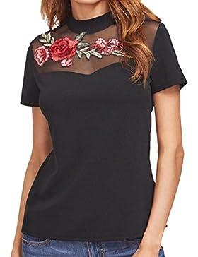 Tongshi Camiseta Negra Bordada Rosa Del Acoplamiento Del Acoplamiento De Applique De Las Mujeres