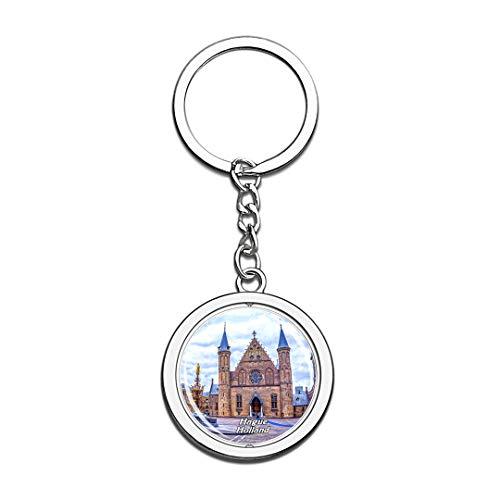 Innenhof & Rittersaal Den HAAG Niederlande Netherlands Keychain 3D Crystal Spinning Round Stainless Steel Keychains Travel City Souvenir Key Chain Ring