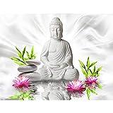 Fototapeten Buddha Blumen 352 x 250 cm - Vlies Wand Tapete Wohnzimmer Schlafzimmer Büro Flur Dekoration Wandbilder XXL Moderne Wanddeko - 100% MADE IN GERMANY - 9289011c