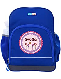 UniQBees Personalised School Bag With Name (Little Life Pre-School Backpack-Blue-Pink Flowers)