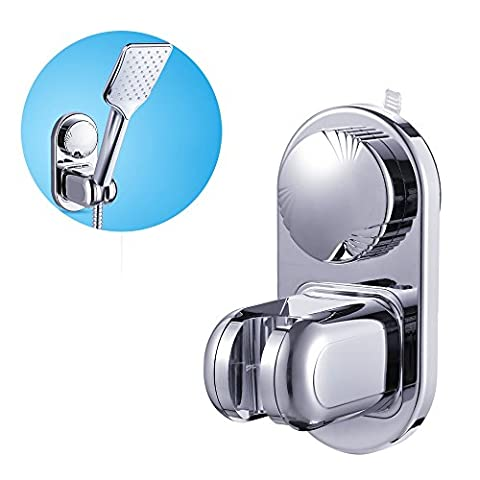 THANLY Adjustable Wall Mounted Bathroom Adhesive Suction Cup Hand Held Shower Head Holder Bracket Cradle Clamp Support| Heavy Duty | Moistureproof | Waterproof | Reuseable | Chrome Finish