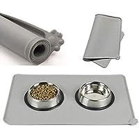 Estera del tazón de fuente del gato del perro del silicón, cojín de agua antiadherente del cojín de la comida para mascotas, estera de alimentación antideslizante aprobada por la FDA