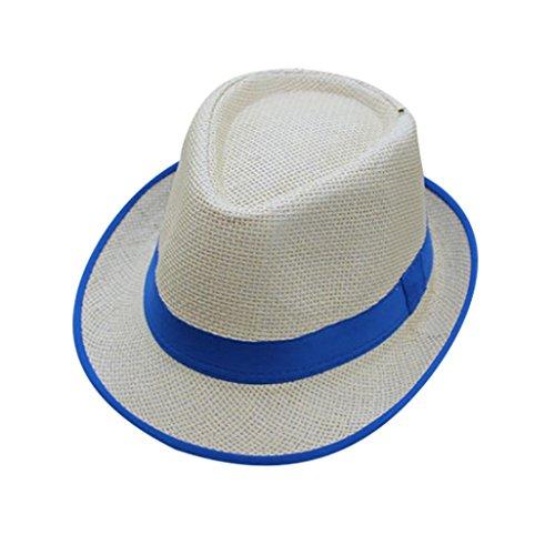 Venmo Unisex Männer Frauen Strand Strohhut Jazz Trilby Fedorahut Gangstermütze Sommerhut Panama Sonnenhut Webart Stroh Hut mit Sonnenschutz Hats 56-58cm (Blue) (Denim Bandana Blue)