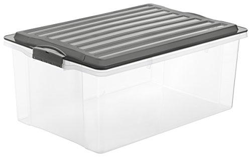 Rotho 1767708812 Aufbewahrungskiste Compact mit Deckel, Lager Box aus Kunststoff im DIN A3 Format, Inhalt 38 L, Plastik, transparent/anthrazit, 57 x 40 x 25 cm