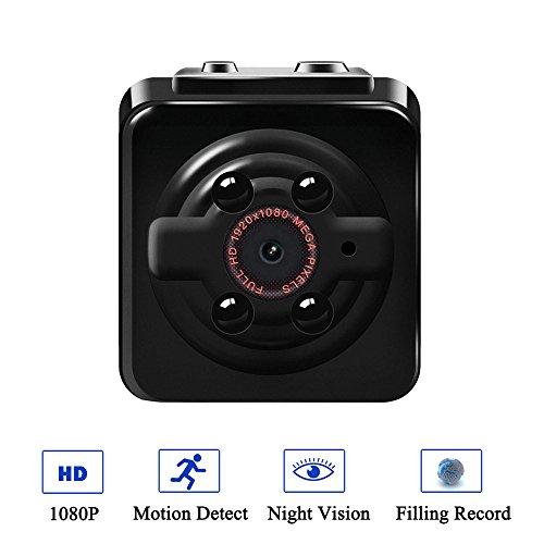 Awqol 1080P Mini Cam Surveillance Kamera, Full HD Tragbare Kleine Nanny Cam mit Nachtsichtgerät für Zuhause/Büro/Garten/Garage/Indoor/Outdoor Sicherheit Kamera