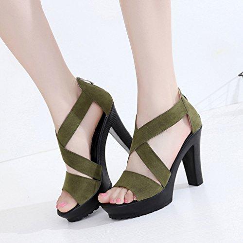 Aisun Damen Neu Gekreuzt Offen Zehe Reißverschluss Trichterabsatz Sandalen