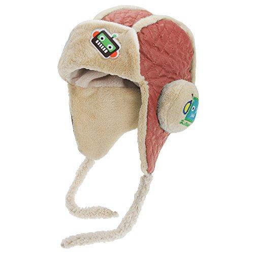 Bonnet trappeur à motif robot - Enfant Orange