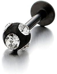 Acier Inoxydable Noir Balle Anneaux Piercing Lèvres Labret Stud Tragus Bijoux de Corps avec Zircone Cubique