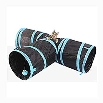 Kuke Toy Tunnel Cat intégré Jouet plié et Pliant à 3 Voies avec Balle pour Chat, Chiot, Chaton, Chaton, Lapin