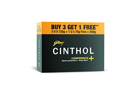Cinthol Confidence Soap, 125g (Pack of 3) + 75g Free