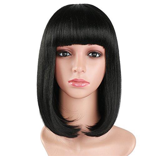 (Golden Rule Perücken Kurze Bob Perücke für Frauen mit Kostenlose Perückenkappe Yaki gerade synthetische Perücken flach Pony Perücke schwarz Farbe Sammler Perücken)