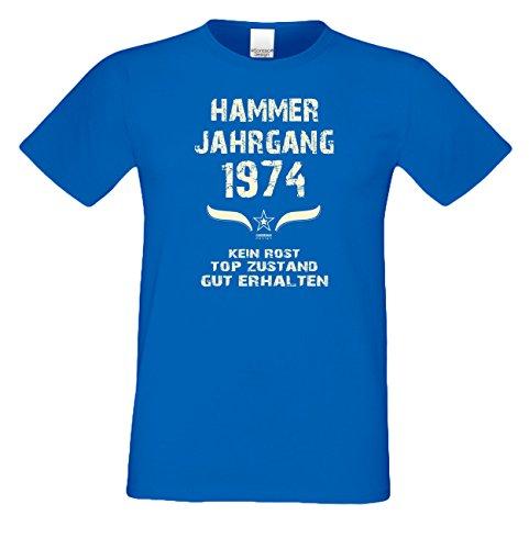 Geschenkset für Männer : Hammer Jahrgang 1974 : Herren Kurzarm T-Shirt : Geschenkidee zum 43. Geburtstag : Geburtstagsgeschenk auch in Übergrößen Farbe: royal-blau Royal-Blau