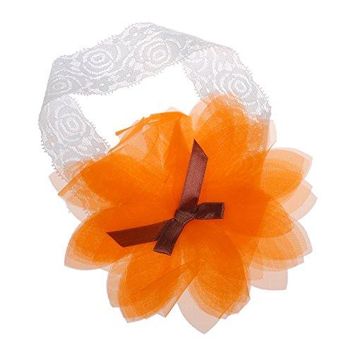TOOGOO(R) Baby Girl enfants Bandeau Serre-tete elastique mariage Flower Ruffle Bow Knot souple - Orange