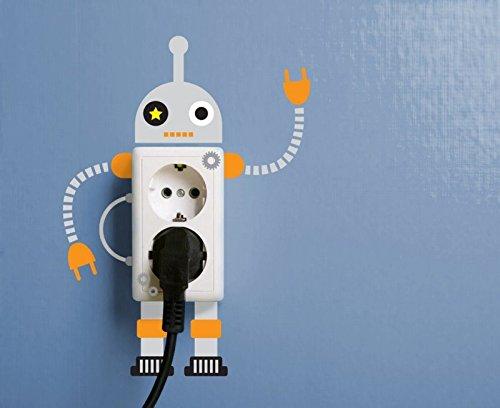 Ambiance-Live Sticker Mural Autocollant pour Mur, fiche électrique Robots pour Les Enfants