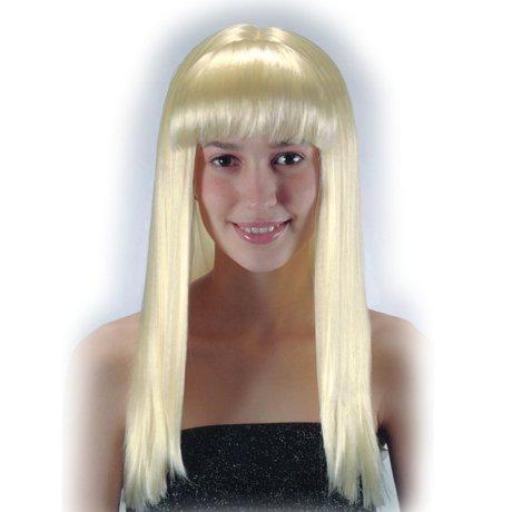 perruque blonde LISSE AVEC FRANGE