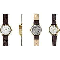 Void Womens V03P-PG/CB/WH Petite Brown Leather Strap Gold Watch