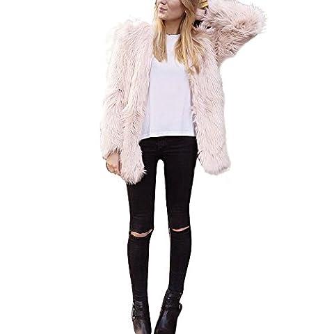 HCFKJ 2017 Mode Damen Warm Faux Pelz Fox Mantel Jacken Winter Parka Oberbekleidung (XL, ROSA)